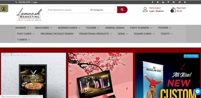 Website lamaash.biz use WordPress PrintStore Solution from CMSmart