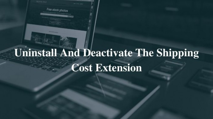 Uninstall and Deactivate the Shipping Cost Extension