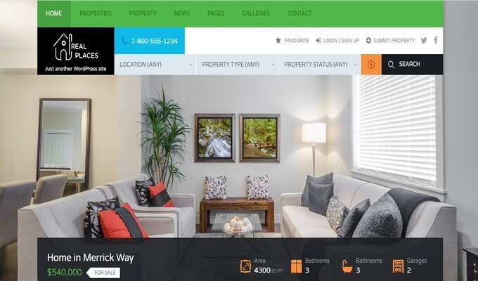 WordPress Real Estate Themes, Real Places – Stunning WordPress Real Estate Theme