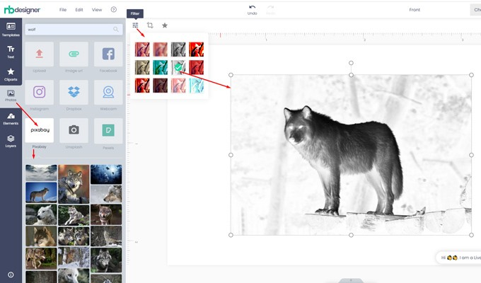 Simple image filters on modern layout