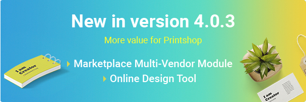 version 4.0.3 of Magento Printing website theme
