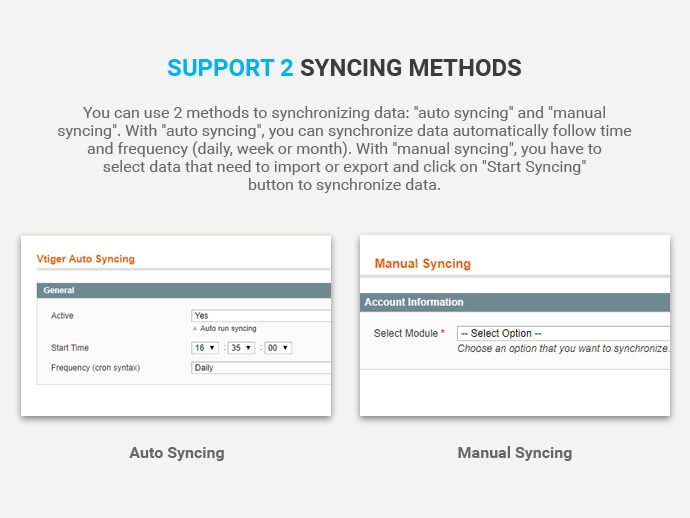 Synchronize Database Magento With Vtiger CRM Extension