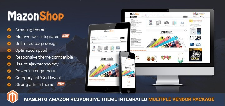 Magento Amazon Responsive Theme Integrated Multiple Vendor Package