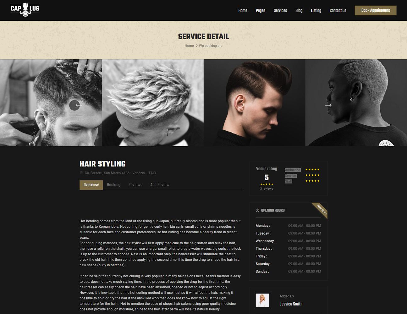 screenshots Capillus - The WordPress Theme for Hair Salon Booking