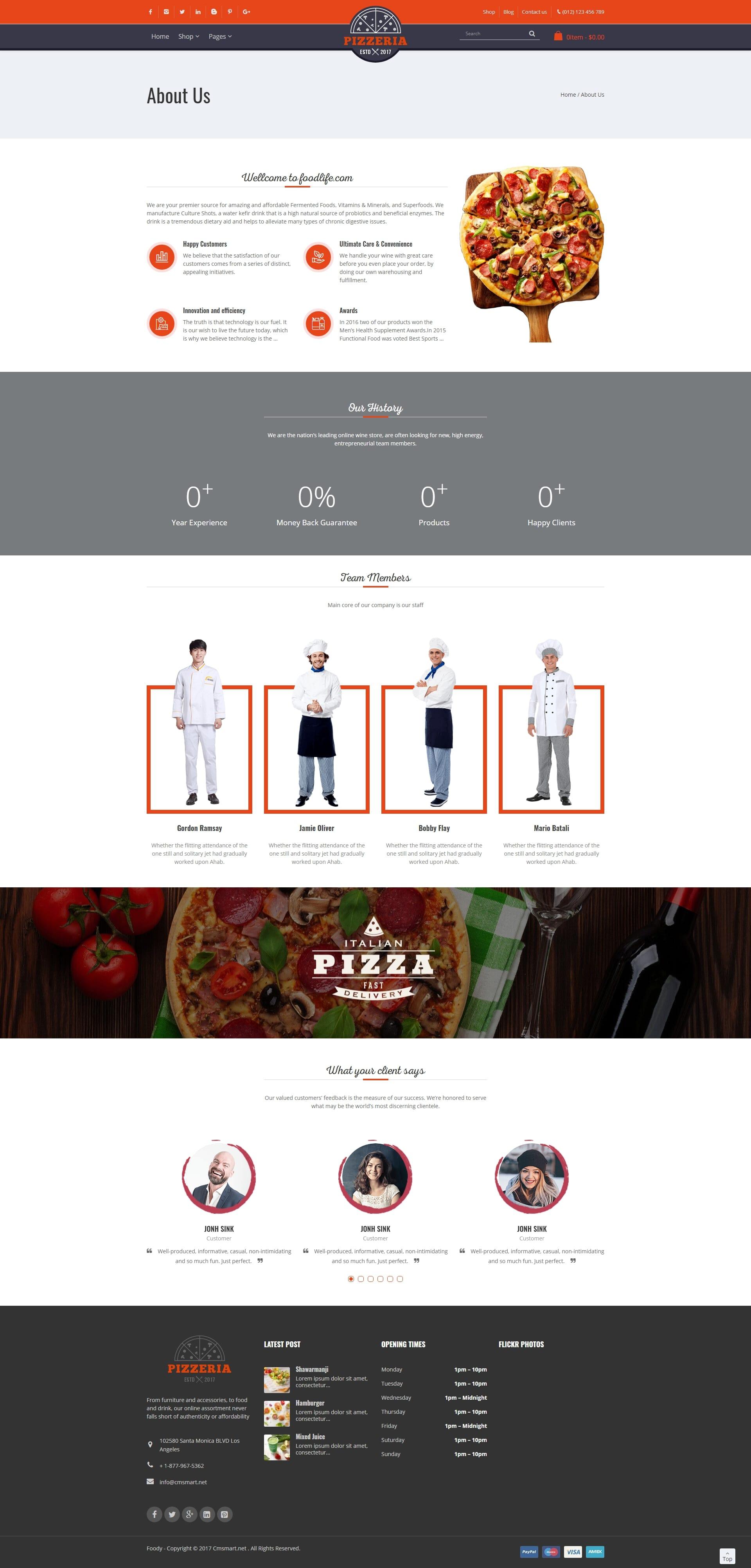 screenshots Pizzeria - Pizza Restaurant WooCommerce Wordpress Theme