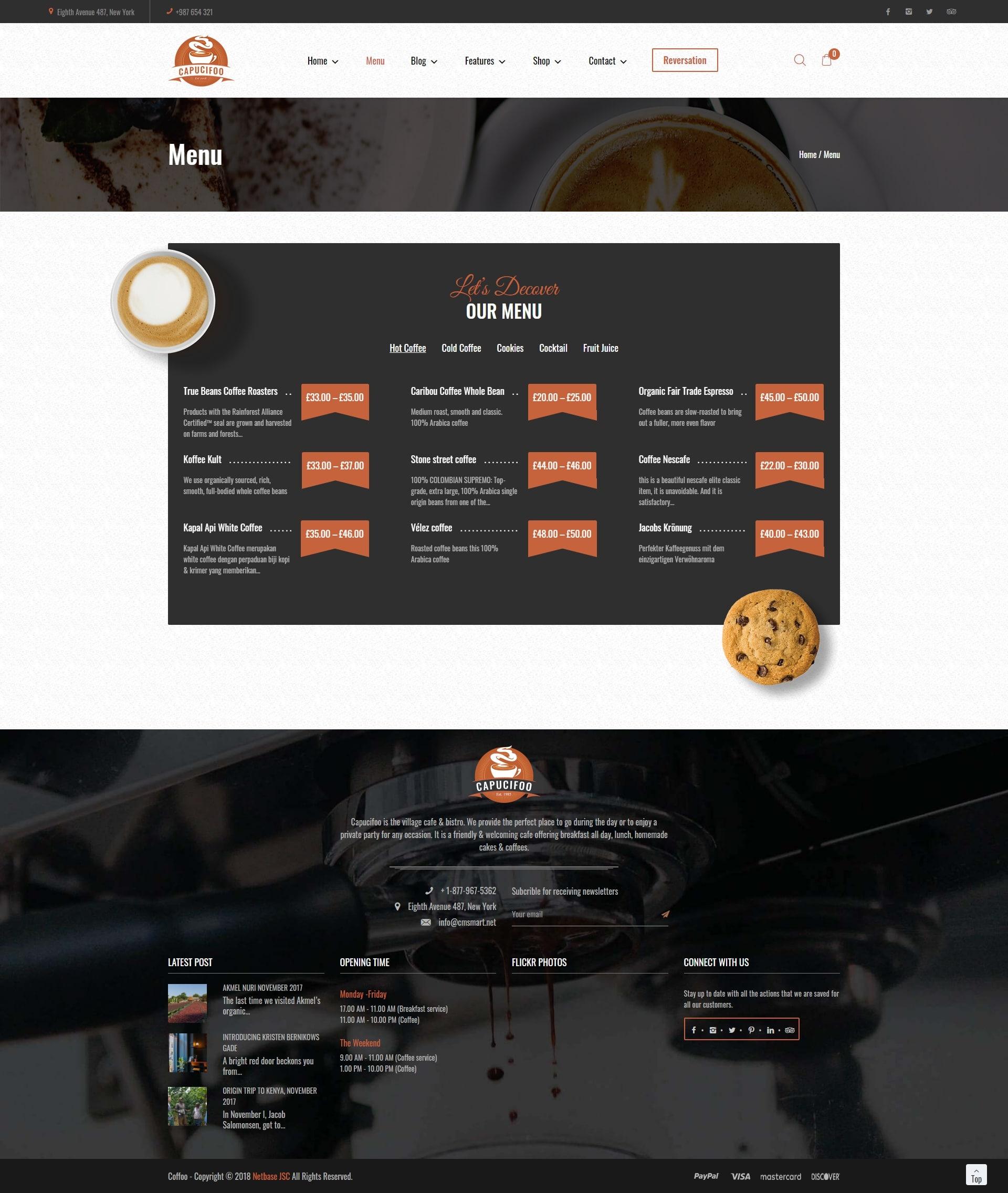 screenshots  CAPUCIFOO - Coffee Shop & Drinks WordPress Themes