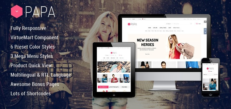 Fashion Store Responsive Joomla Virtuemart Template - SJ Papa