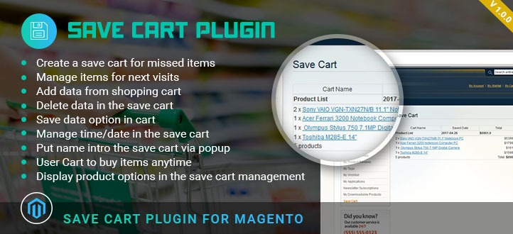 Magento Save Cart Plugin