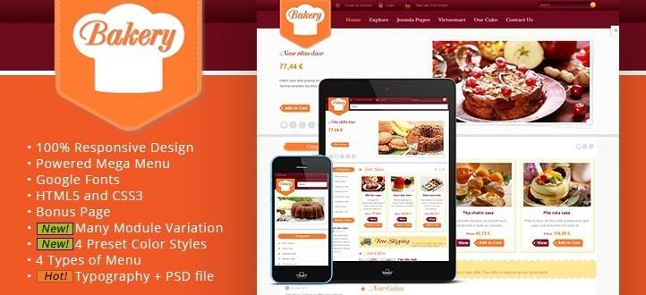 VirtueMart Responsive Online Shop Template - SJ Bakery