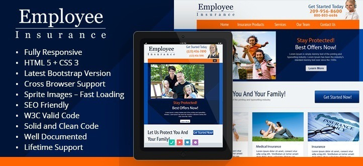 Employee Insurance Responsive WordPress Theme