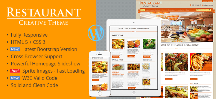 Creative Restaurant Responsive WordPress Theme - GAM Themes