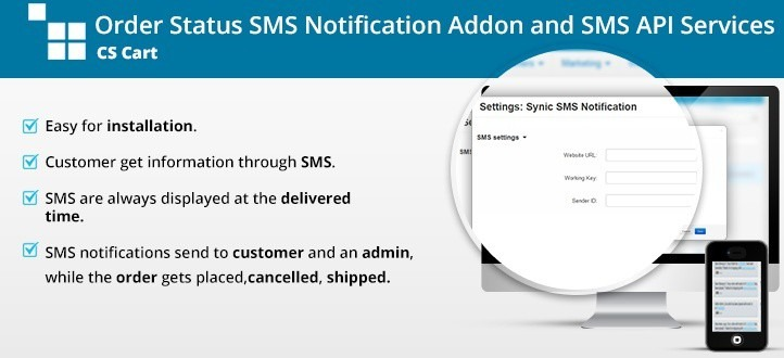 Cart Order status SMS Notification Addon and SMS API Services