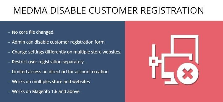 Medma Disable Customer Registration Magento Extension