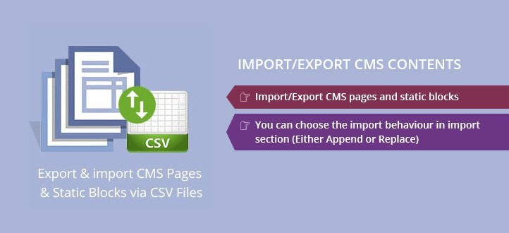Import/Export CMS Contents Magento Extension