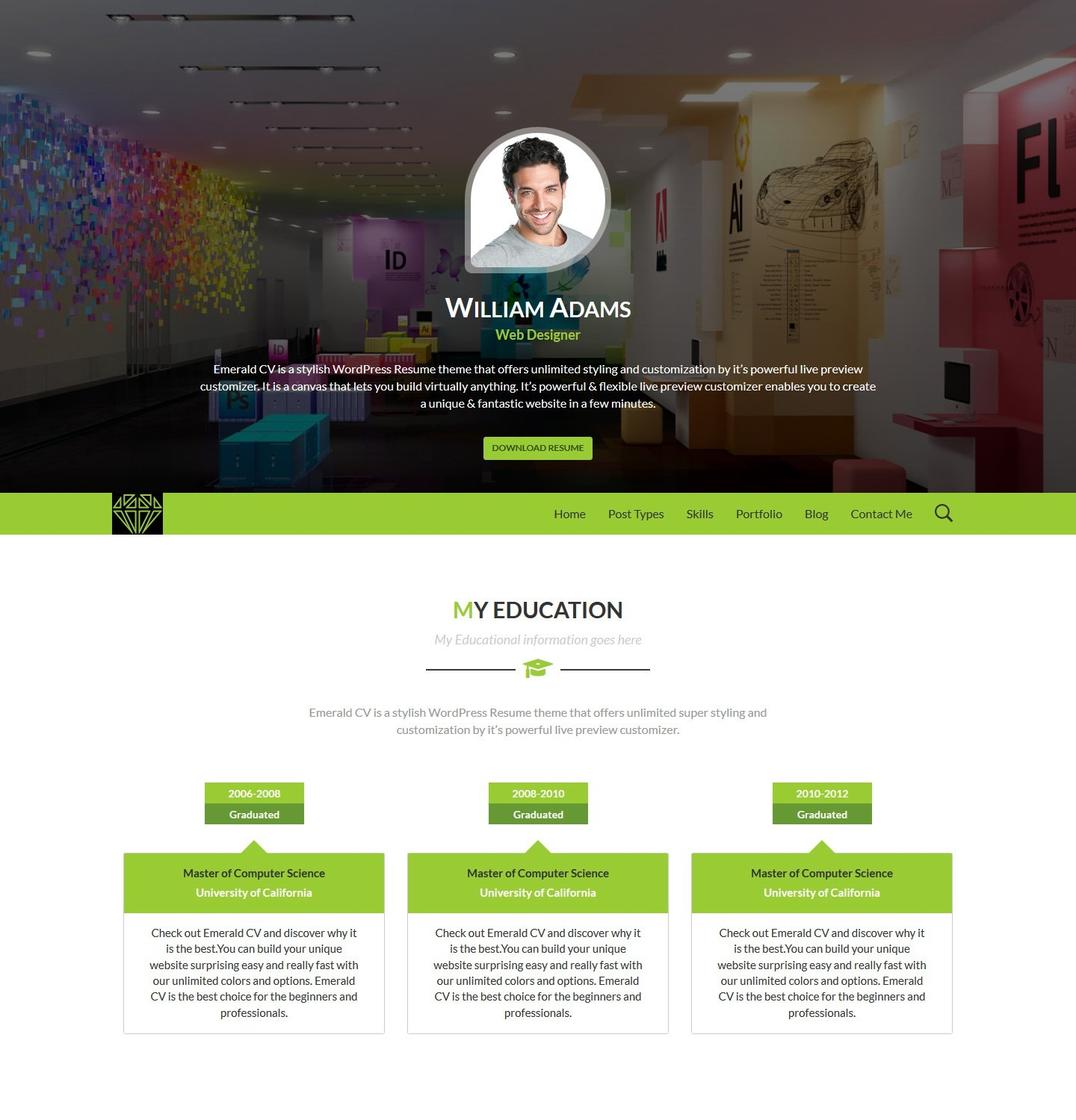 emerald cv ultra customizable wordpress resume theme