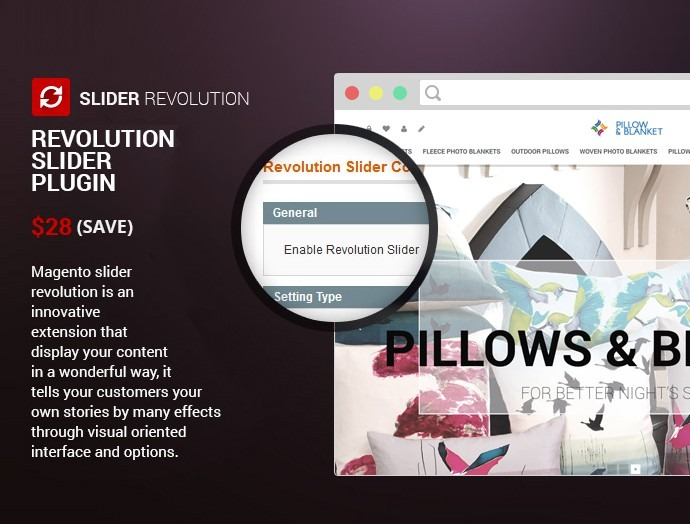 Magento Responsive Pillow & Blanket Printing Website Theme