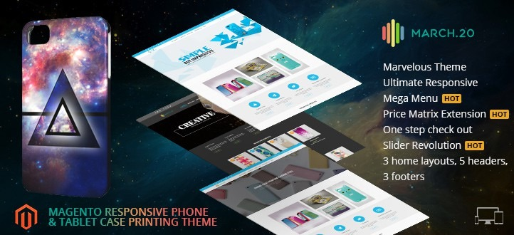 Magento Responsive  Phone & Tablets Case Printing Website Theme