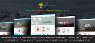Magento Responsive Mugs Printing Website Theme