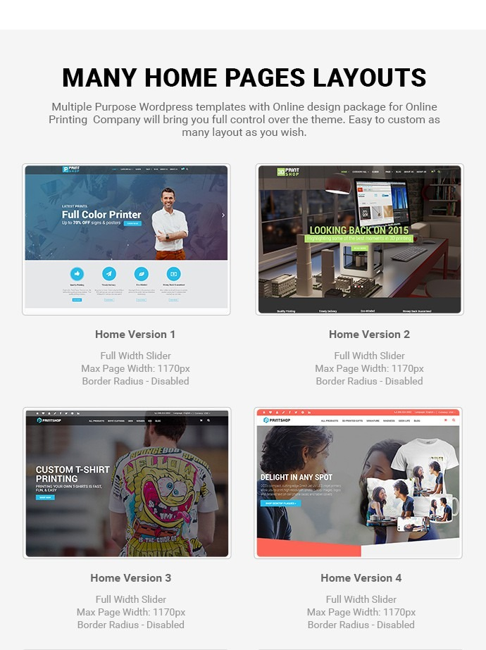 WordPress Printshop Website Templates